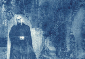 Attila Csihar from <i>Monoliths & Dimensions</i> liner. Cyanotype by Mathilde Darel.