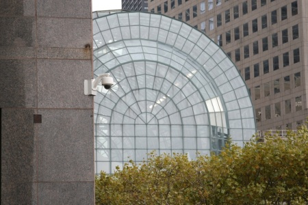 Surveillance cameras on the Mercantile Exchange Building, Battery Park City, New York. Shot from public space, though a guard tried to stop me from taking this photo.